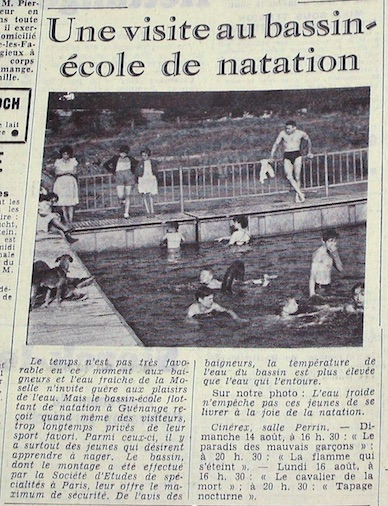 Bassin ecole flottant Journal 13-08-1955